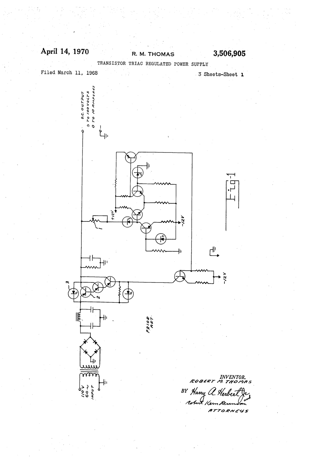 Power Supply Drawing At Free For Personal Use Triac Circuit Page 2 Other Circuits Nextgr 1100x1616 Patent Us3506905 Transistor Regulated