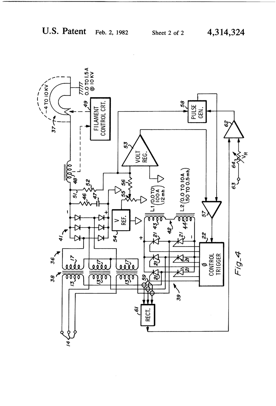 1100x1616 Patent Us4314324 Transformer Power Supply Having An Inductively