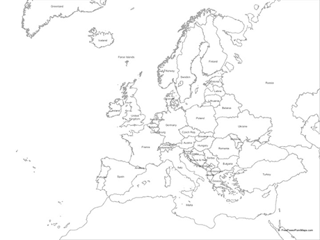 460x345 Map Of Europe With Countries
