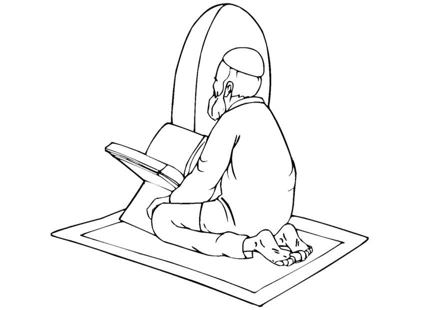 875x620 Coloring Page Muslim Praying