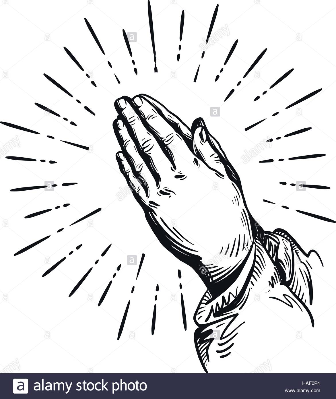 1171x1390 Prayer. Sketch Praying Hands. Vector Illustration Isolated