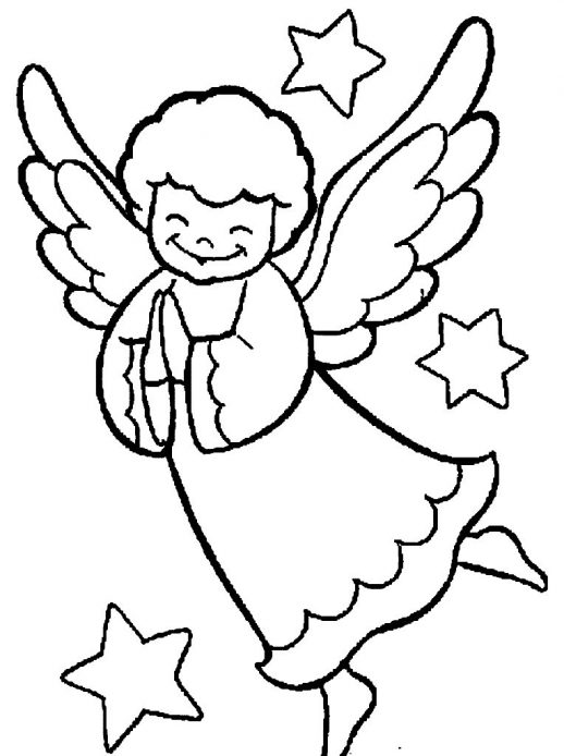 518x694 Christmas Angel Are Praying With The Stars Around Coloring Pages