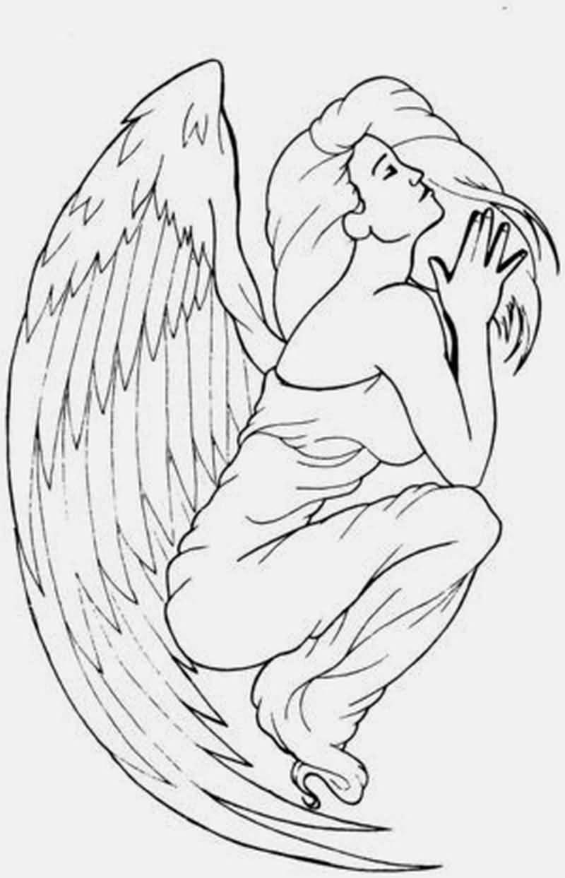 800x1243 Classy Cool Praying Angel Tattoo Design Idea