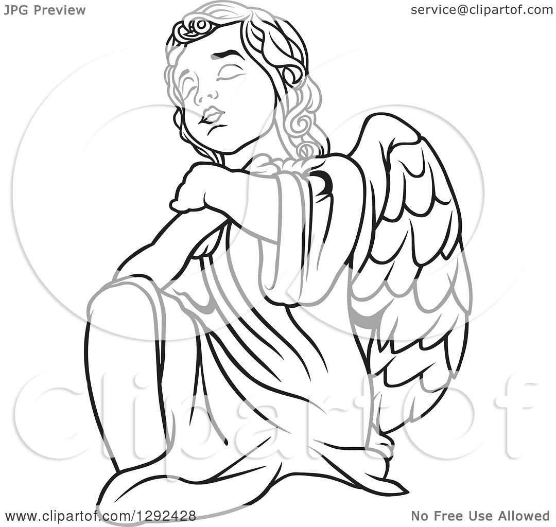 1080x1024 Clipart Of A Black And White Angel Kneeling And Praying