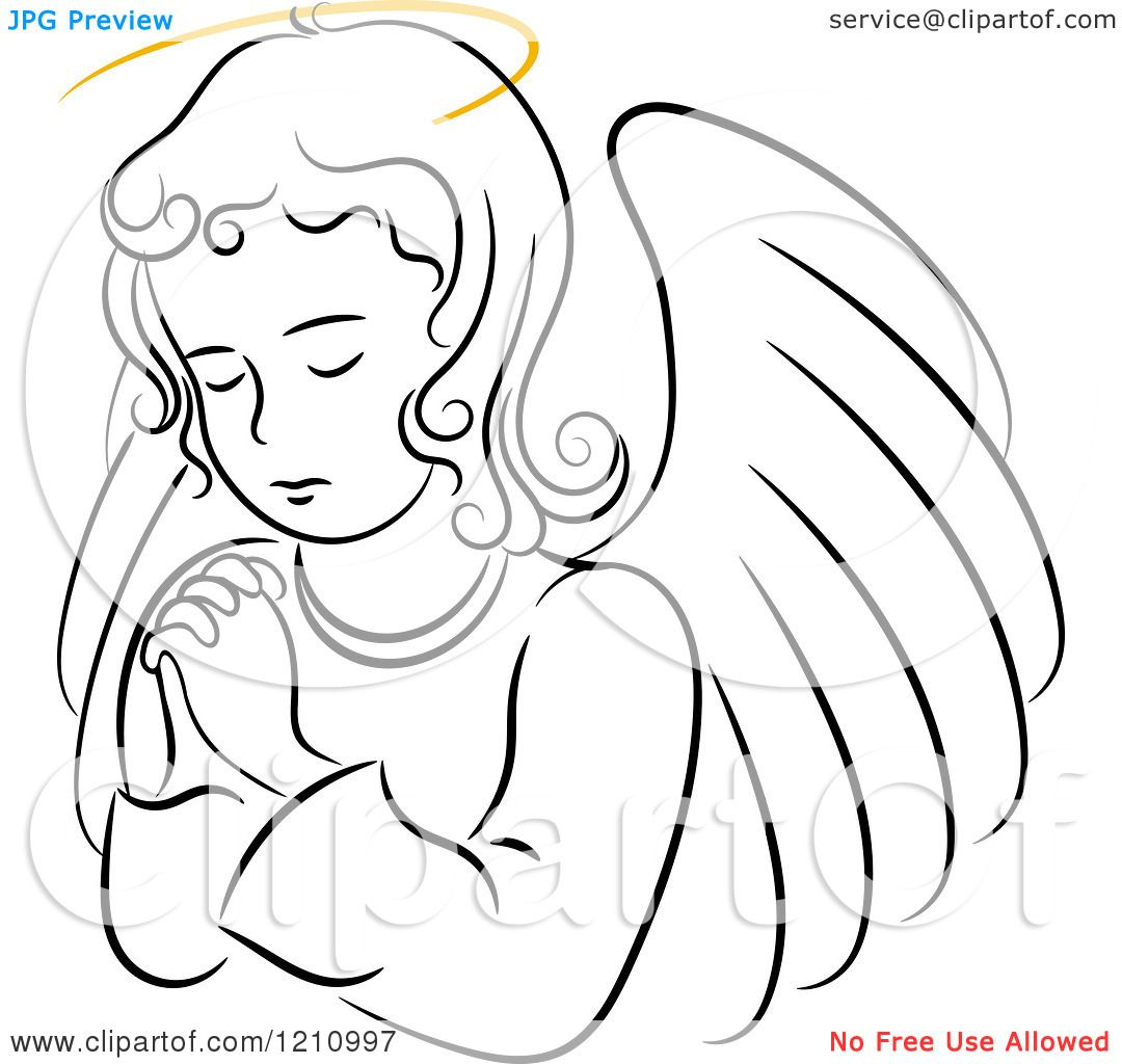 1080x1024 Clipart Of A Black And White Praying Angel Girl With A Golden Halo