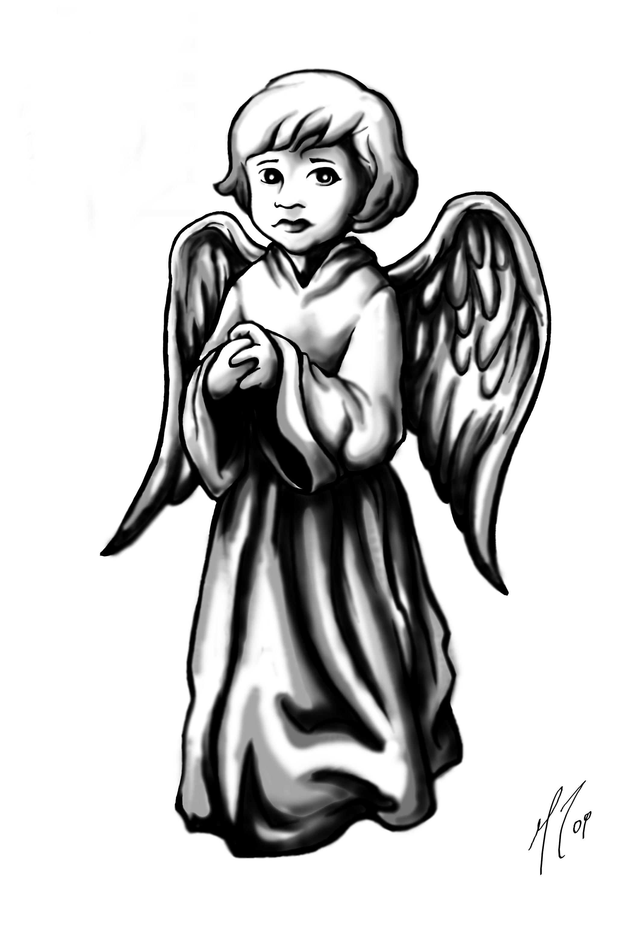 2069x3086 Grey Ink Cute Praying Angel Girl Tattoo Design