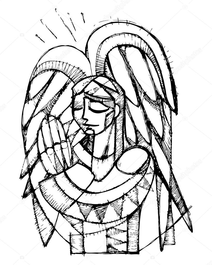 819x1024 Guardian Angel Illustration Stock Vector Bernardojbp