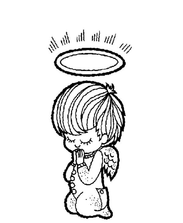 600x730 Little Christmas Angel Praying Coloring Pages