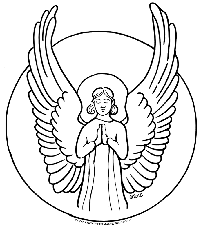 693x800 A Praying Angel Color The Bible