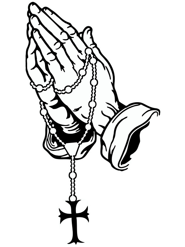 600x800 Praying Hands With Rosenkranz Stickers By Seanmilks Redbubble