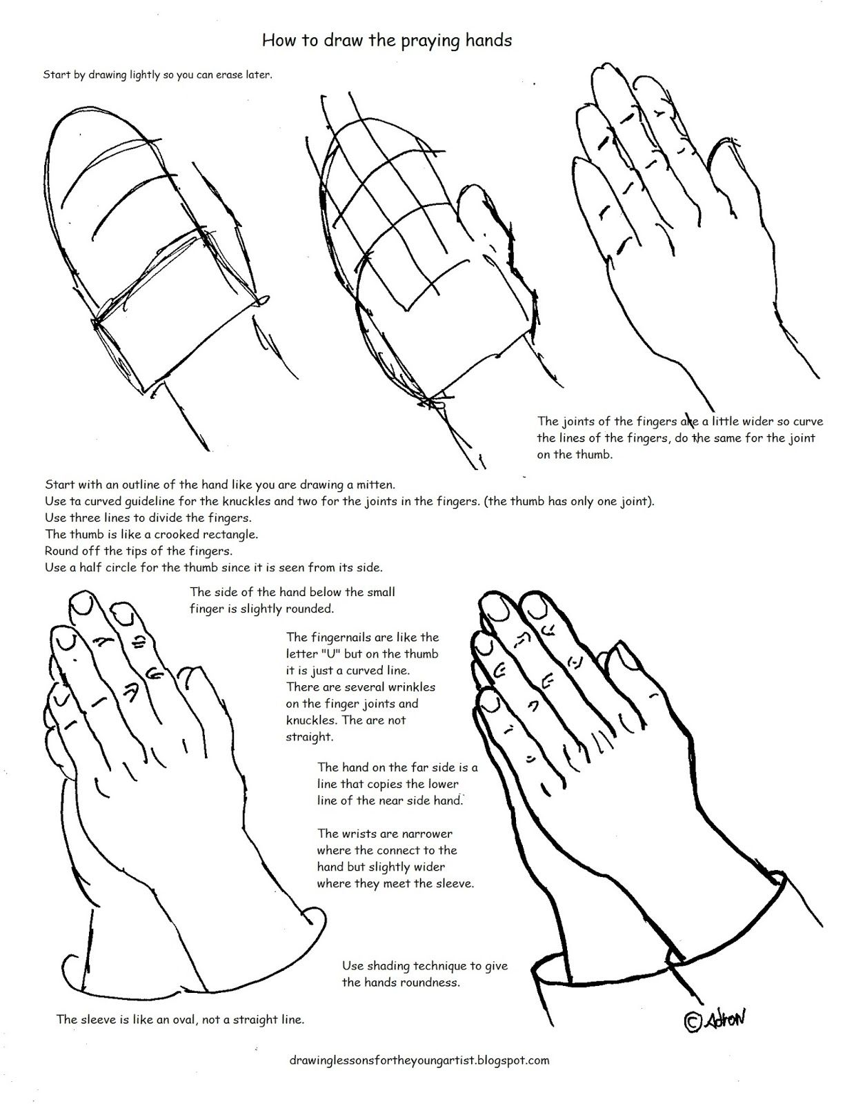 photo about Printable Praying Hands titled Praying Arms Drawing Phase By means of Action at  No cost
