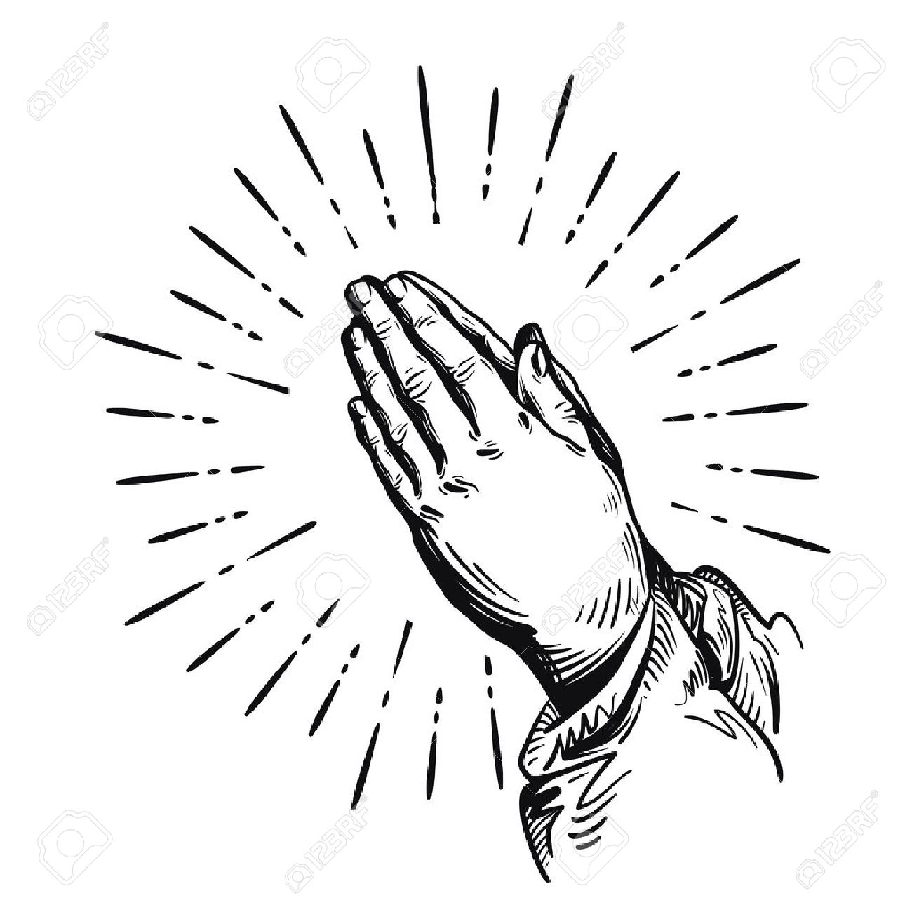 1300x1300 Prayer. Praying Hands. Vector Illustration Isolated On White