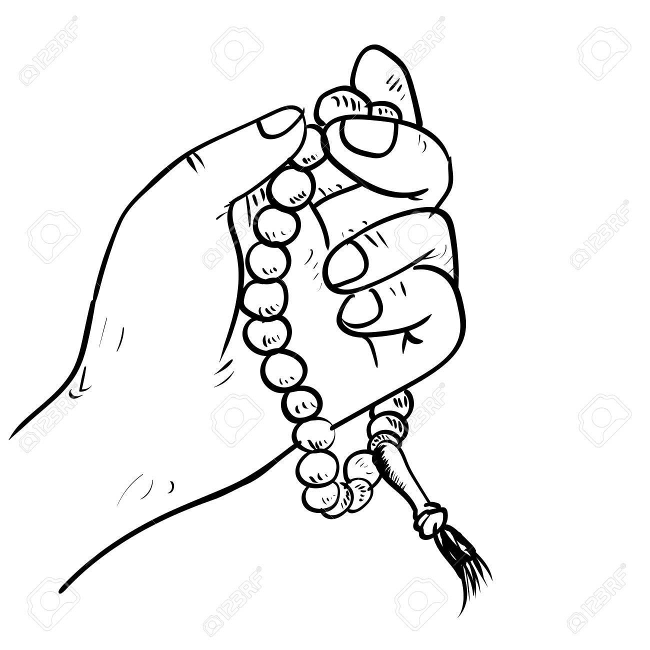 1300x1300 Hand Drawn Hand Holding Islamic Prayer Beads In Cartoon Style