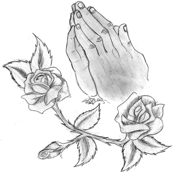 600x599 Praying Hands With Rosery By Haze510