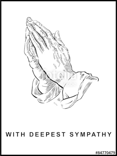 375x500 Sympathy Card, Praying Hands, Drawing, Panel Format, Vector Stock