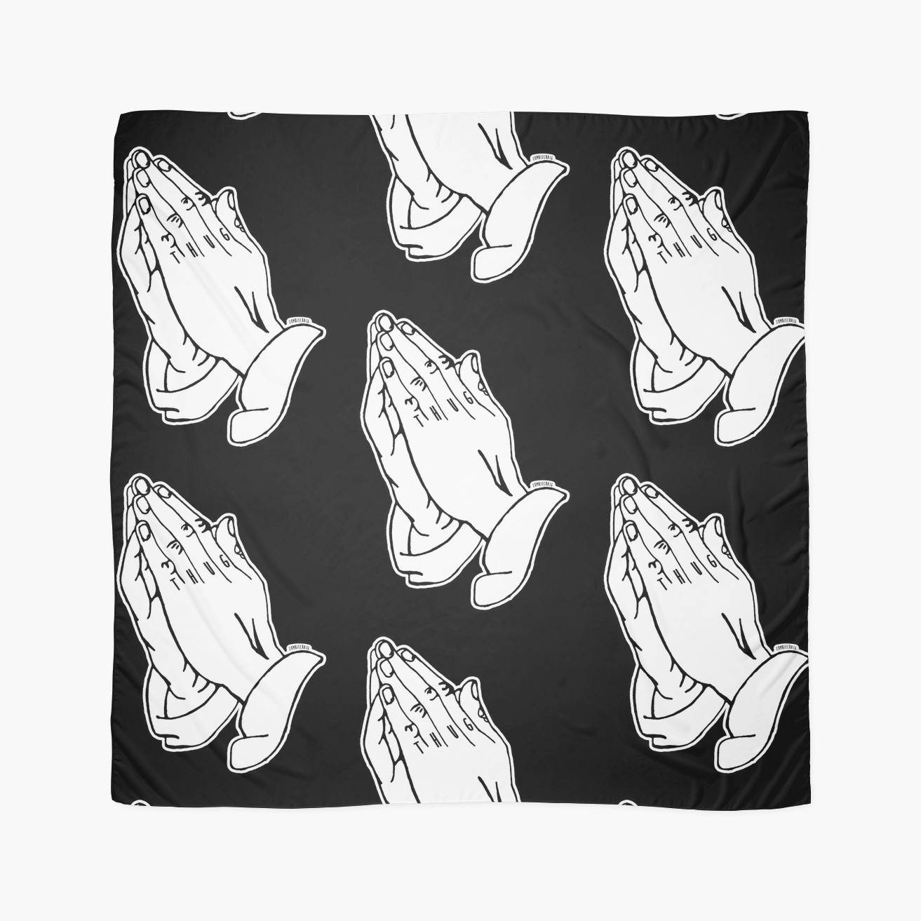 1313x1313 Praying Hands Alternative Thug Finger Tattoo Scarves By
