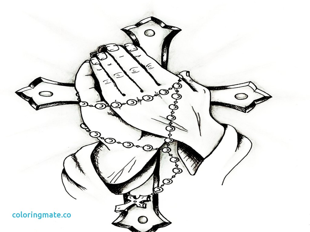 1024x768 Hand Coloring Page Beautiful Holding Flower Cross On Hand Coloring