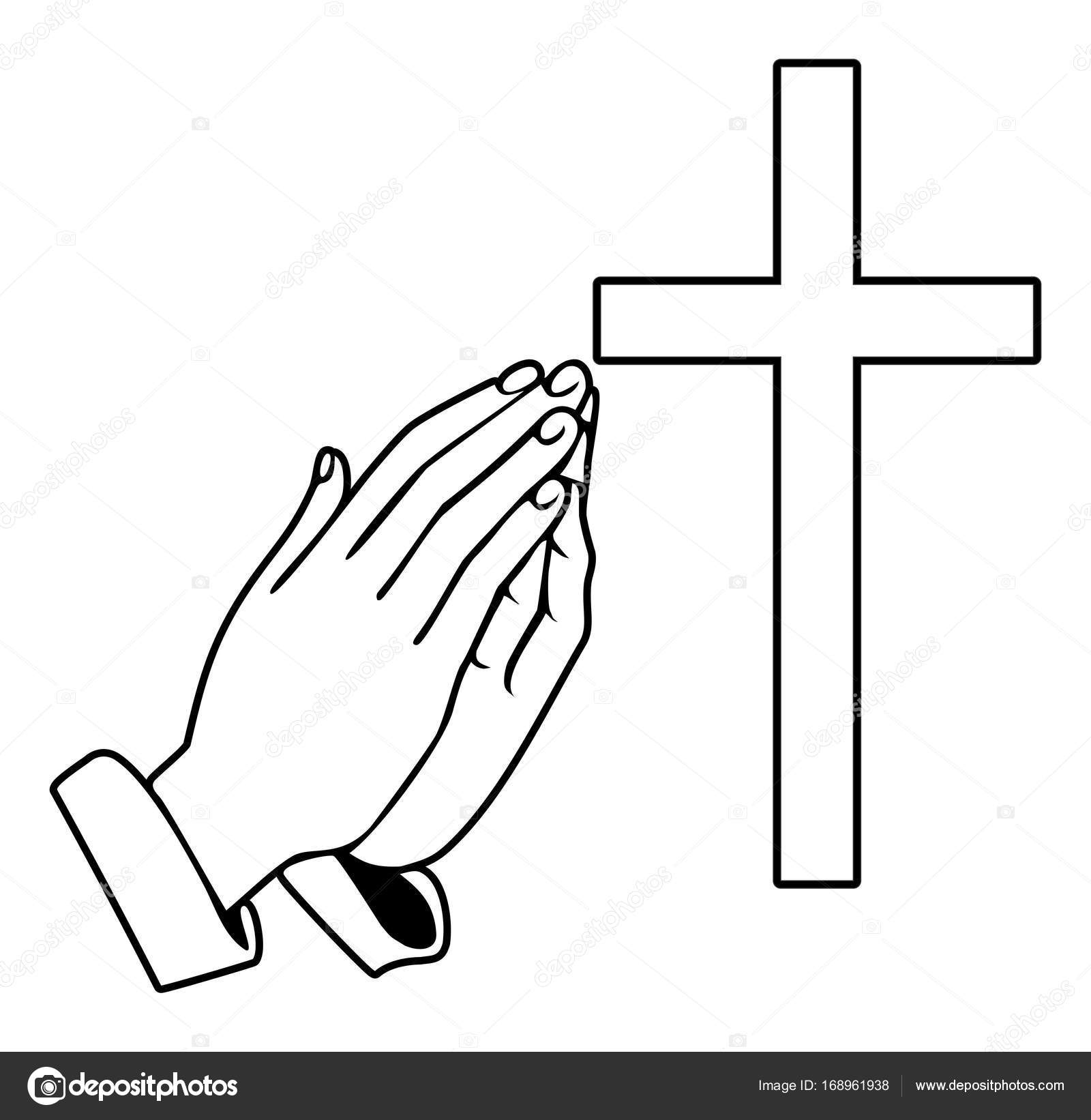1600x1642 Praying Hands And Orthodox Cross Stock Vector Sanadesign
