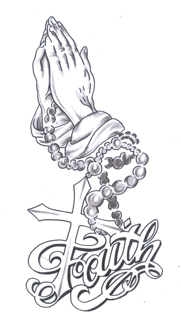 746x1343 Awesome Faith Tattoo Design With Cross And Praying Hands Drawing