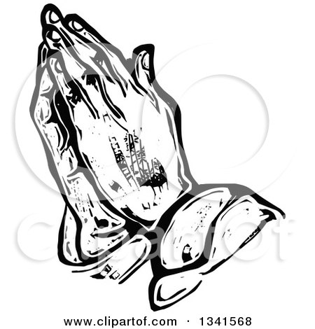 450x470 Clipart Of A Sketched Doodle Of Black And White Praying Hands