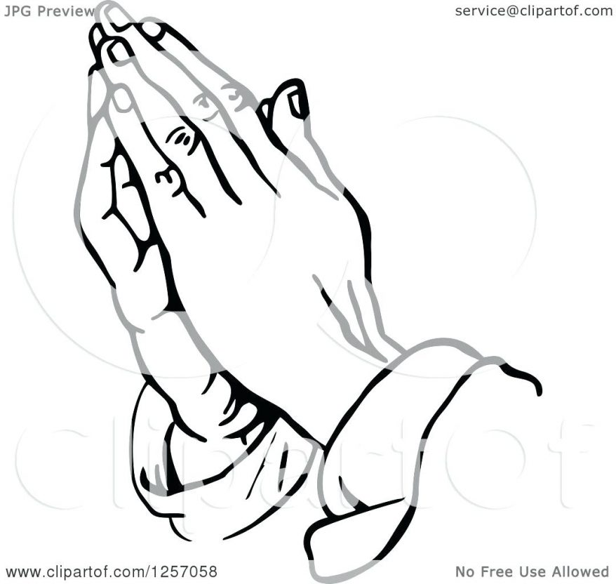 878x832 Of Black And White 28 Marvellous Praying Hands Outline With Rosary