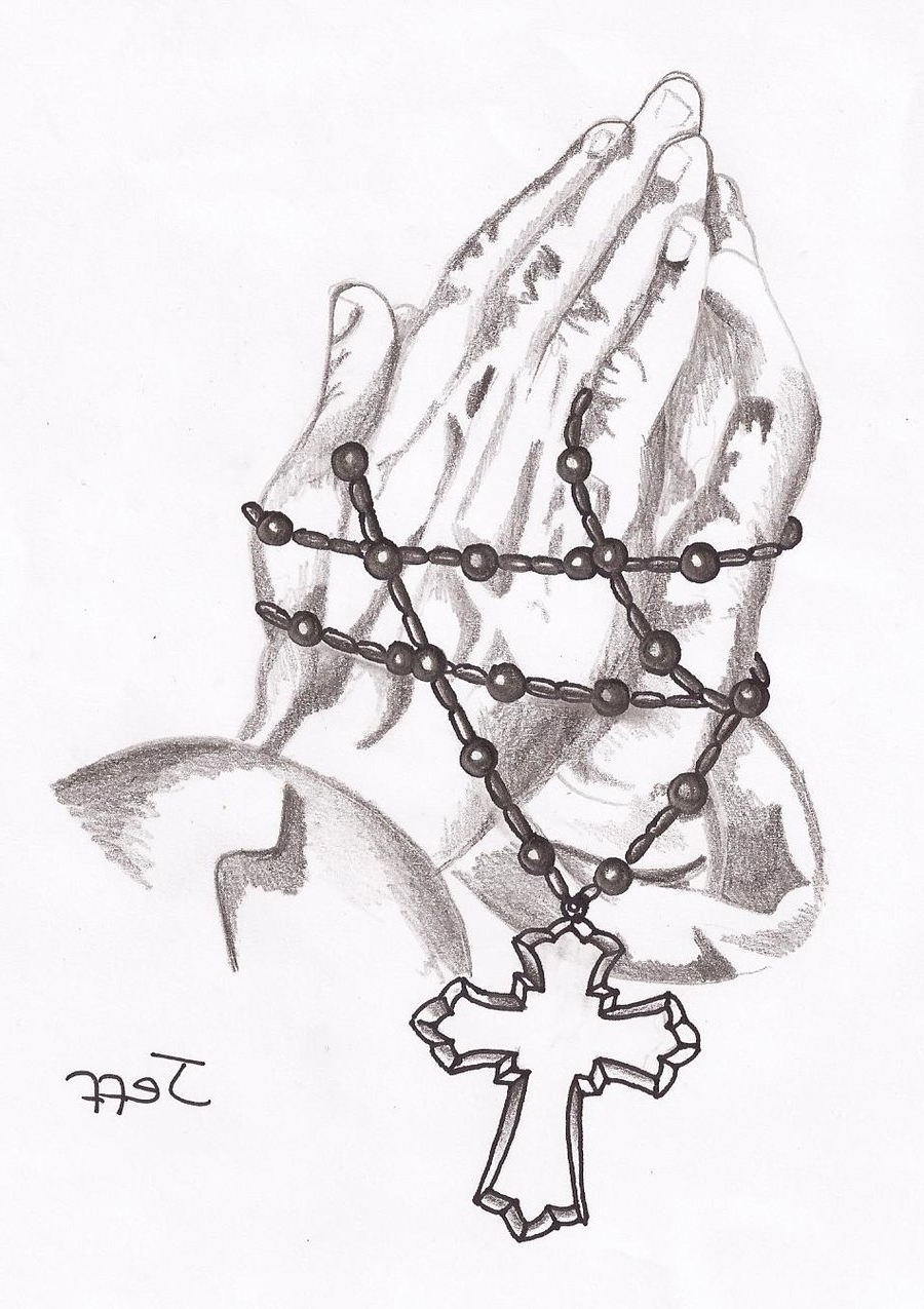 900x1275 Praying Hands And Rosary Beads Tattoo Design