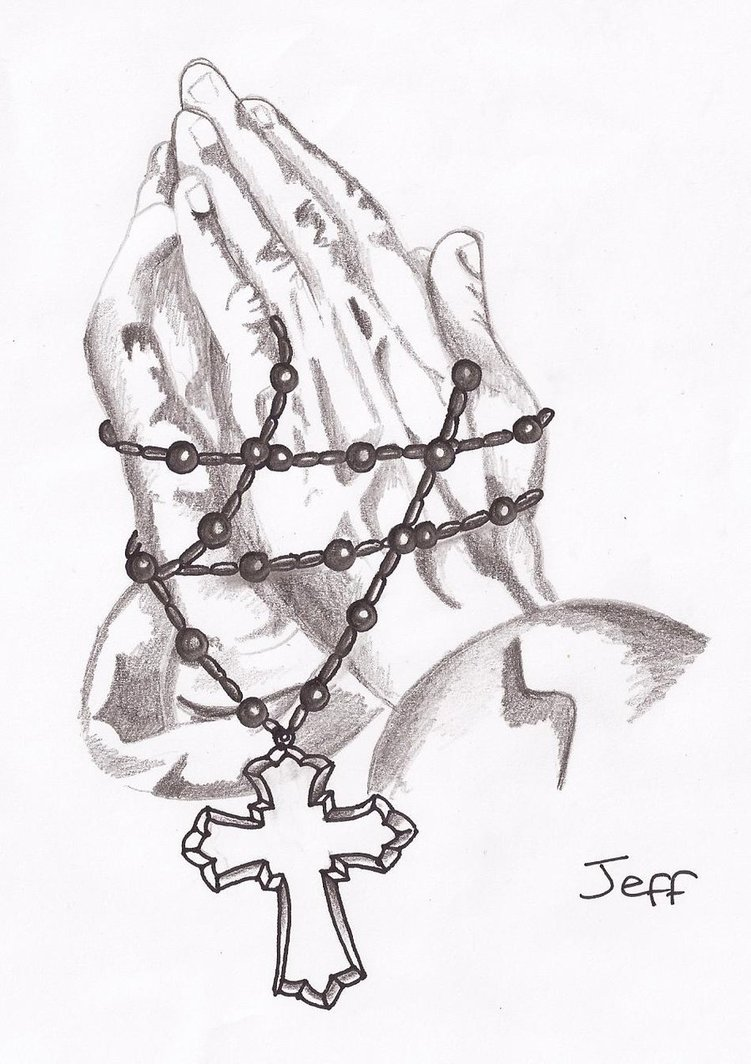751x1064 Praying Hands And Rosary Beads By Amylou31
