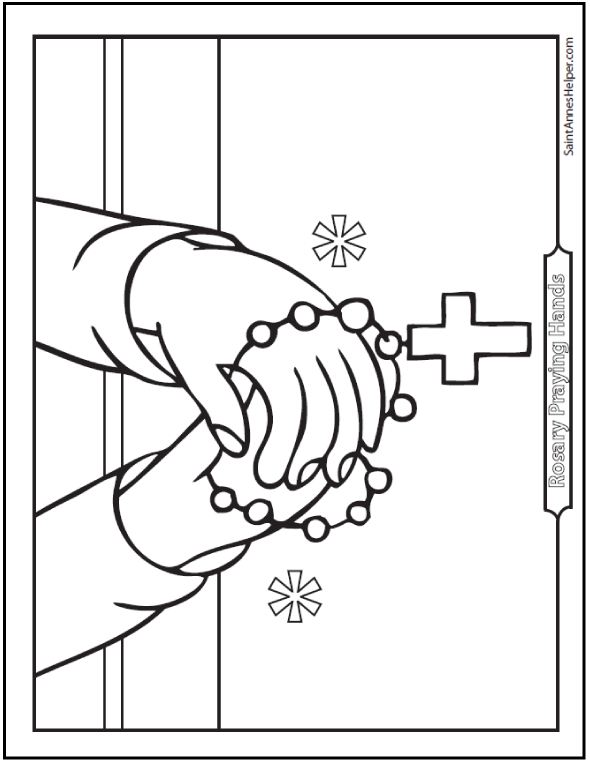 590x762 Rosary Coloring Page Picture Of Praying Hands With Rosary