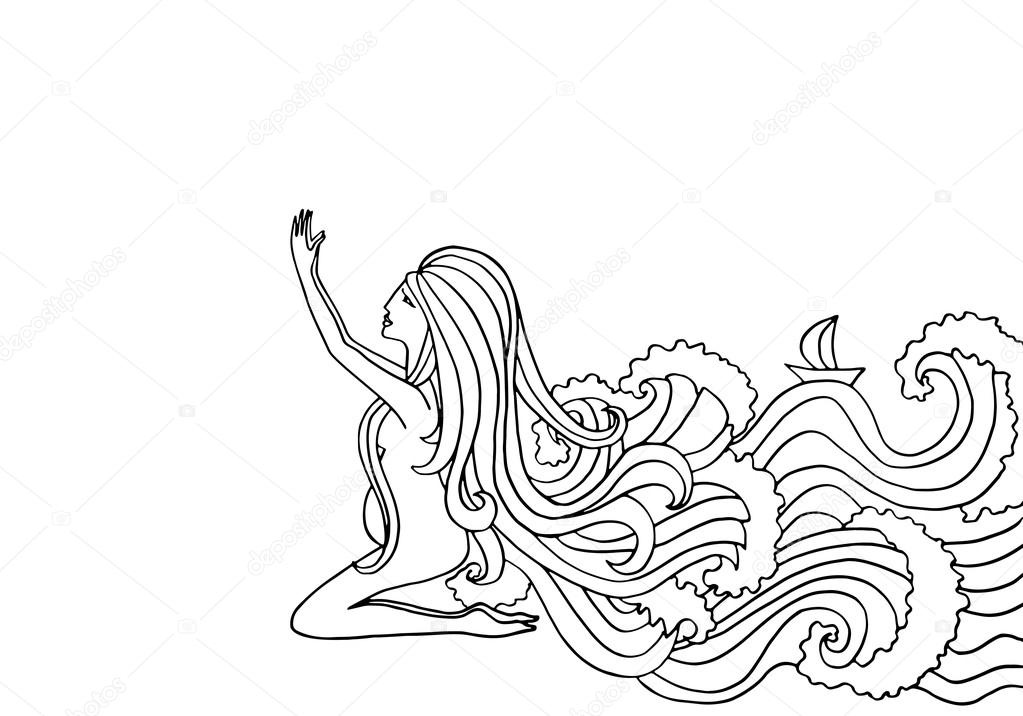 1023x716 Black and white doodle illustration. Pregnant woman praying. Girl