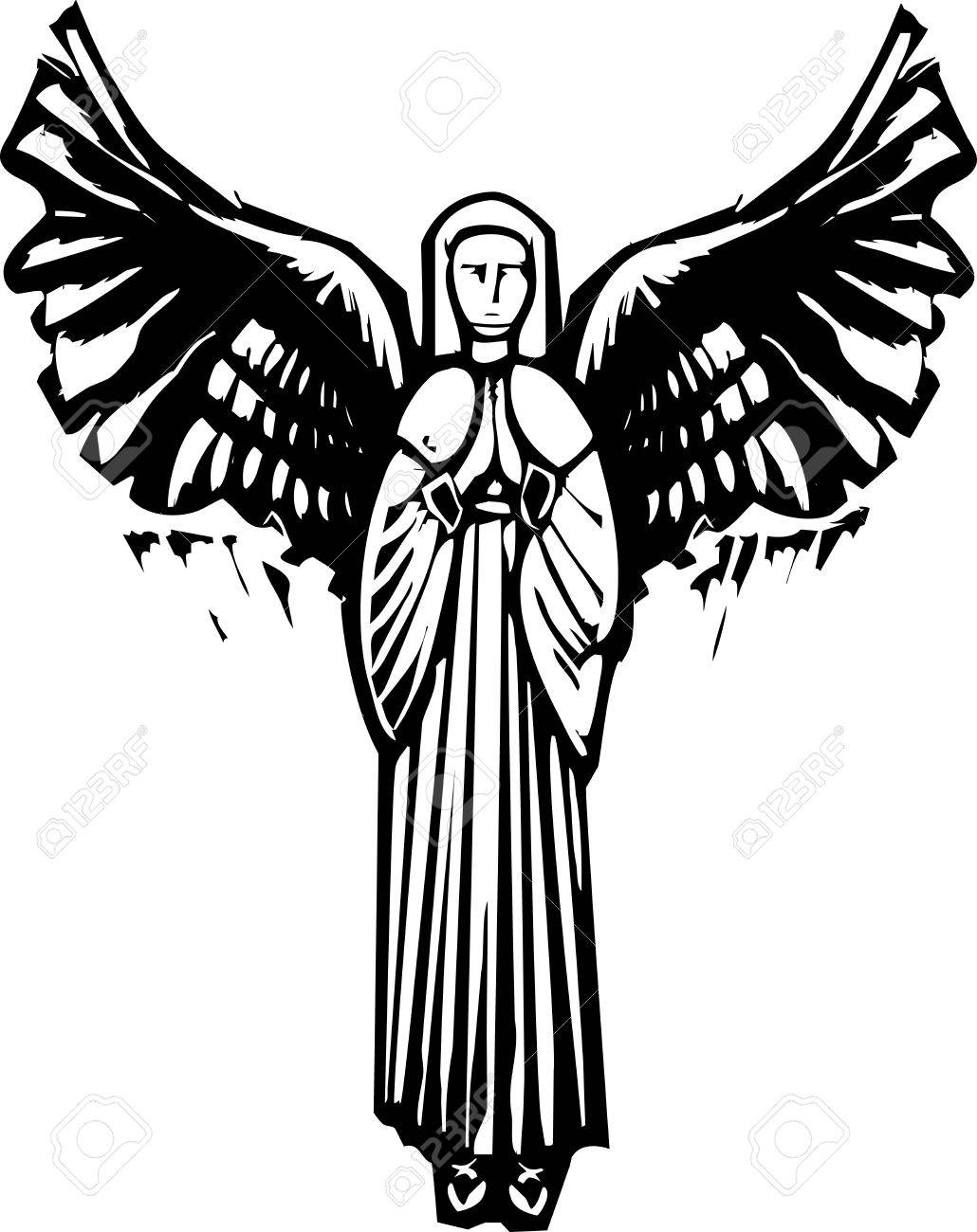 1030x1300 Woman Angel With Wings Praying In A Woodcut Style Image Royalty