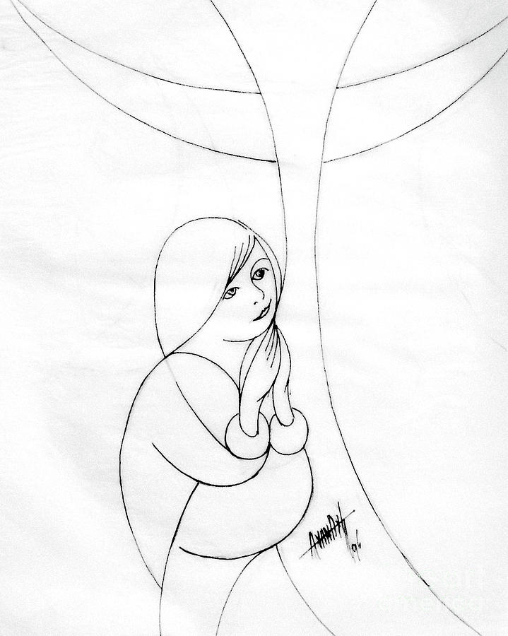 719x900 Woman Praying Drawing by Anthony Vandyk