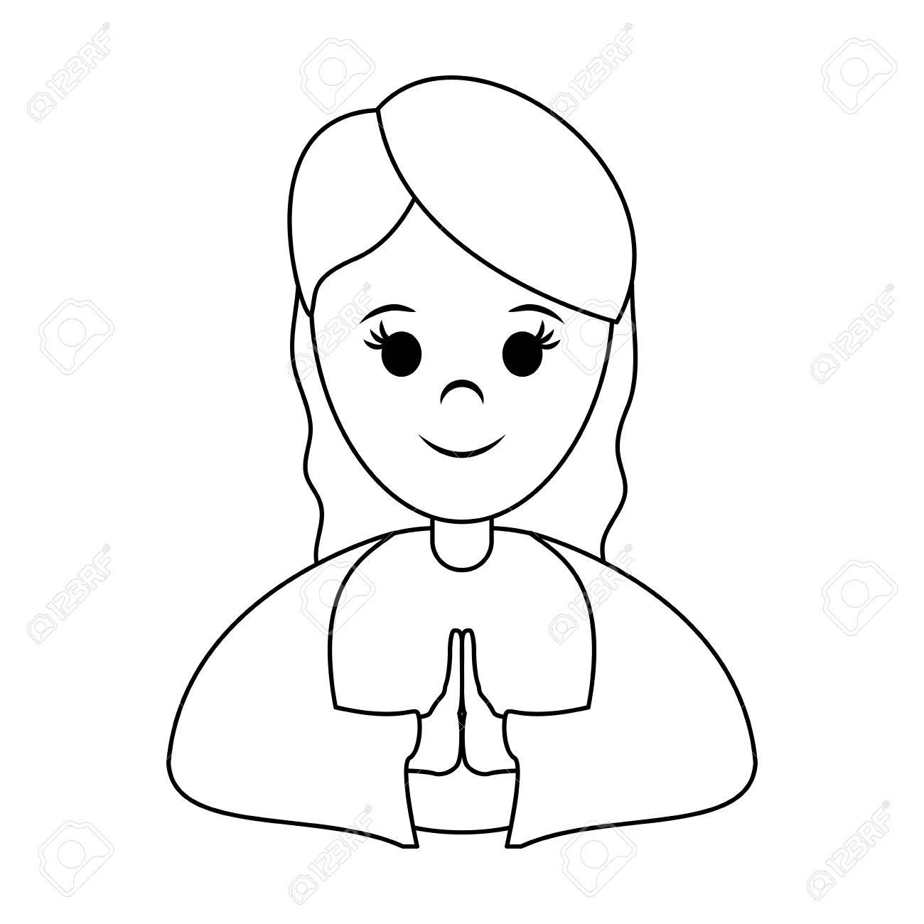 1300x1300 Woman Praying Wearing Tunic Cute Cartoon Icon Image Vector