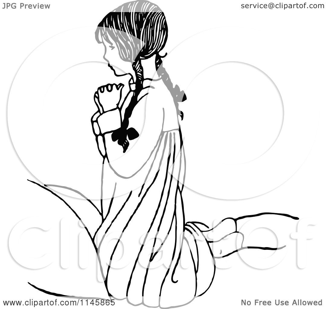 1080x1024 Clipart of a Retro Vintage Black and White Religious Girl Praying