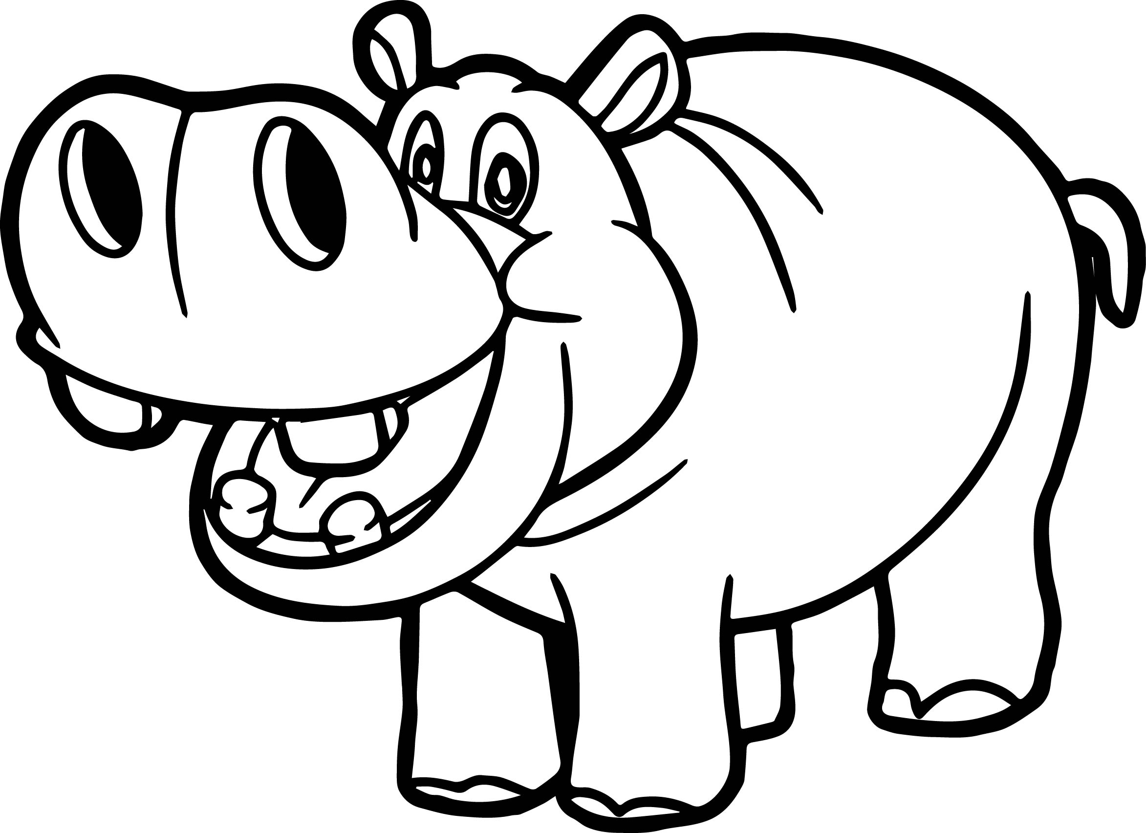 2345x1704 Hippo Coloring Page Preschool For Humorous Draw Print Kids