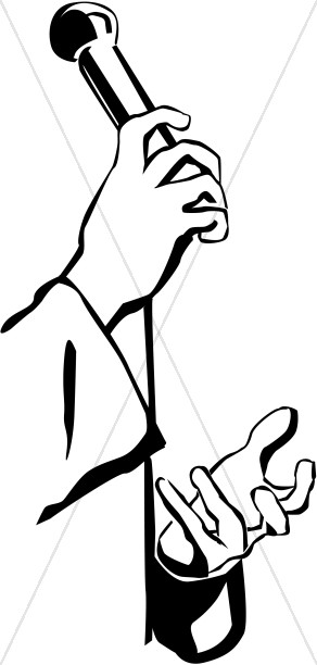 292x612 Pastor Hands And Microphone Clergy Clipart
