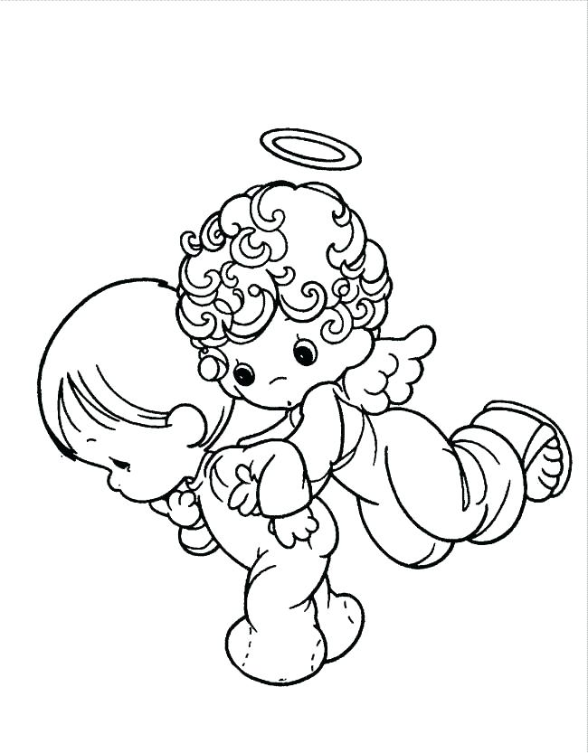 650x833 Amazing Angel Coloring Pages Kids Printable Baby Precious Moments