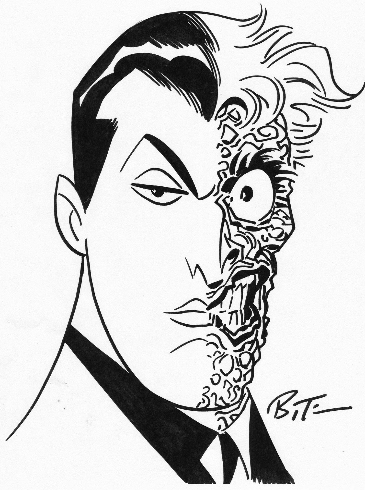 1492x2000 Bruce Timm 2016 Two Face Drawing
