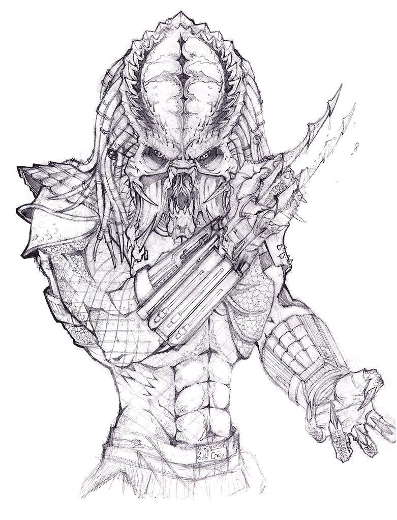 781x1022 Alien Vs Predator Coloring Pages Alien Predator Drawing Sketch
