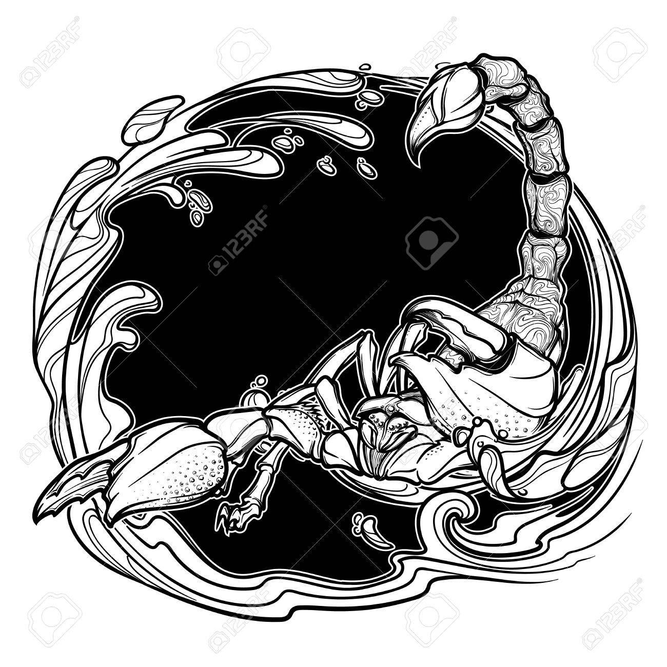1300x1300 Alchemy Element Of Water. Zodiac Sign Scorpio. Detailed Realistic