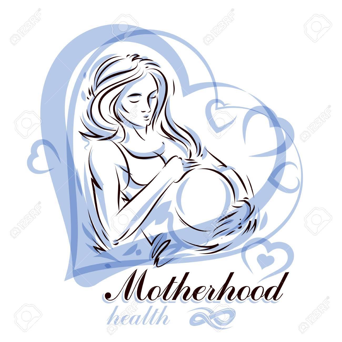 1300x1300 Elegant Pregnant Woman Body Silhouette Drawing. Vector