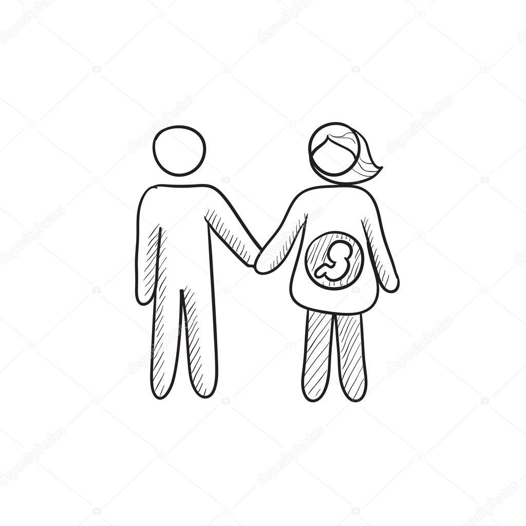 1024x1024 Husband With Pregnant Wife Sketch Icon. Stock Vector Rastudio