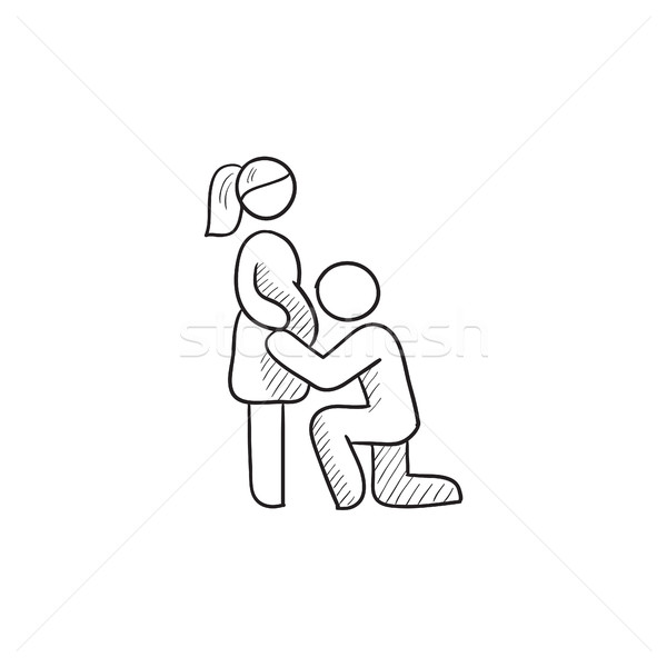 600x600 Man With Pregnant Wife Sketch Icon. Vector Illustration Andrei