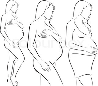 320x280 Outline Sketch Of Pregnant Woman. Vector Illustration Stock