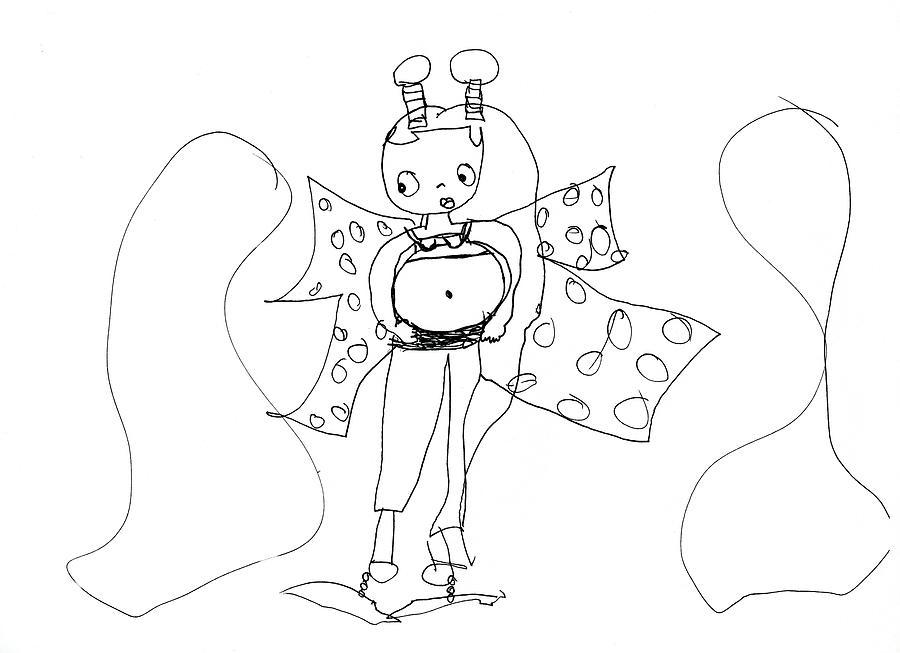 900x653 Pregnant Alien Lady With Accent Colors Drawing By Pamela Paris Collman