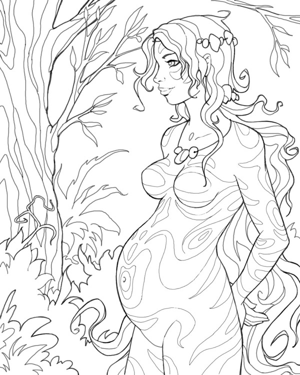600x750 Pregnant Forest Girl By Cyannleola On Adult Coloring