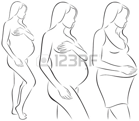 450x393 Stylized Line Drawing Pregnant Woman Royalty Free Cliparts