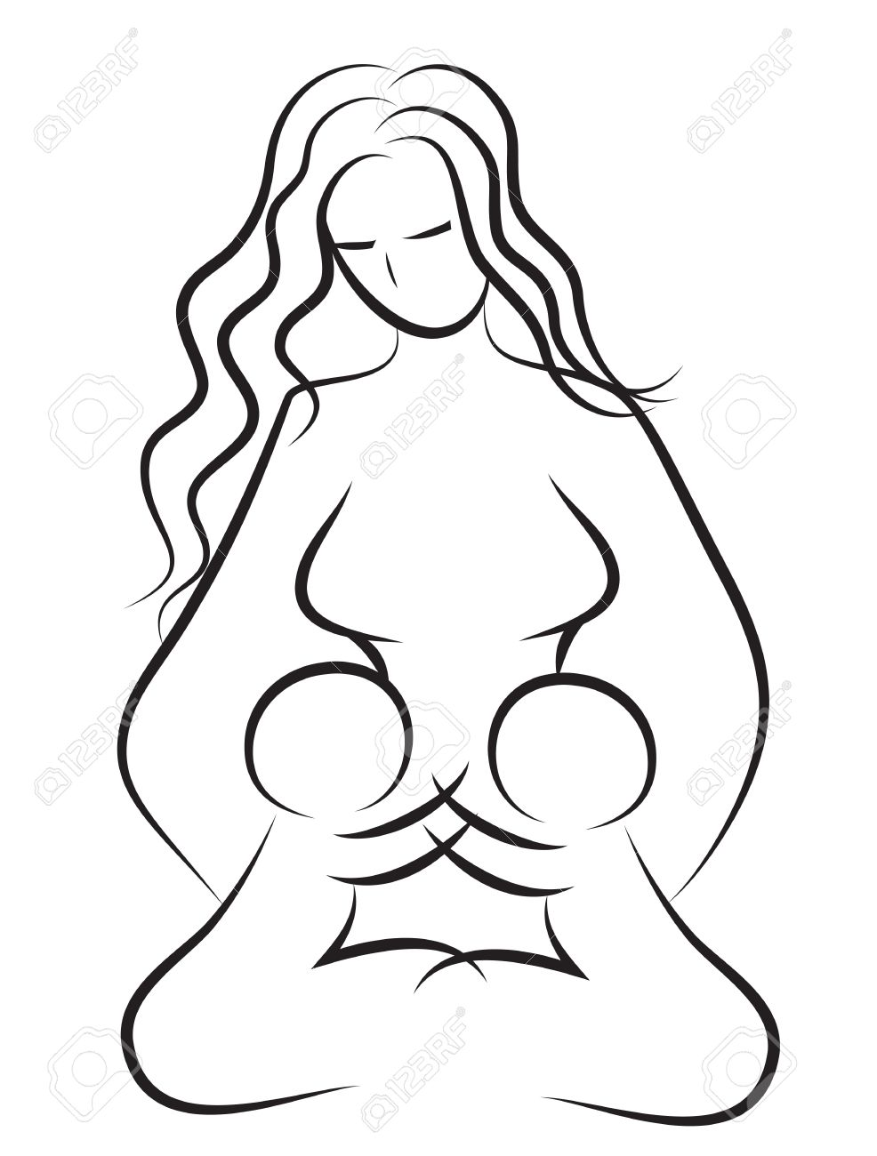 986x1300 Mother And Baby Icon Woman Family Child Vector Line Drawing