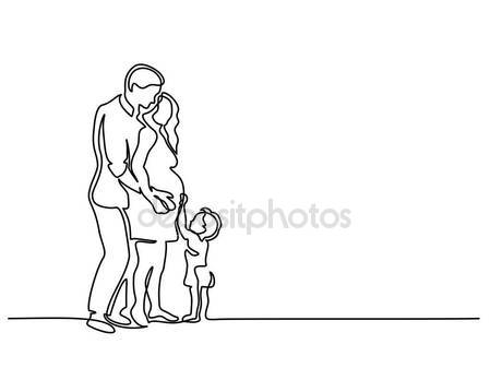 449x337 Pregnant Woman Big Love Vector. Line Drawing. Sketch Silhouette