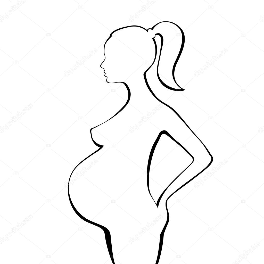 1024x1024 Silhouette Of Pregnant Woman Stock Vector Igor Vkv