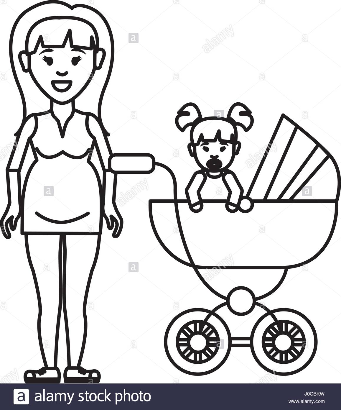 1157x1390 Silhouette Woman Pregnant And Her Baby Icon Stock Vector Art